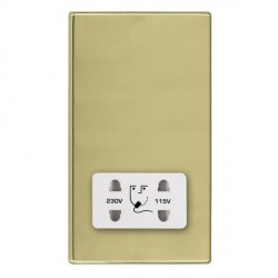 Hamilton Hartland CFX Polished Brass Shaver Socket Dual Voltage with White Insert