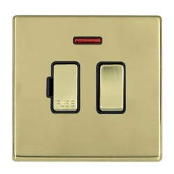 Hamilton Hartland CFX Polished Brass 1 Gang 13A Fused Spur, Double Pole + Neon with Black Insert