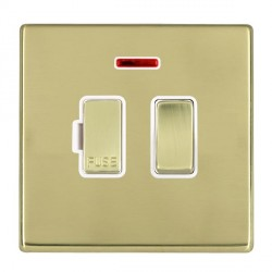 Hamilton Hartland CFX Polished Brass 1 Gang 13A Fused Spur, Double Pole + Neon with White Insert