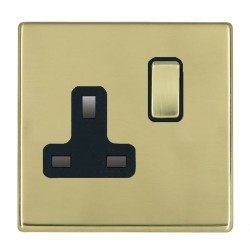Hamilton Hartland CFX Polished Brass 1 Gang 13A Switched Socket - Double Pole with Black Insert