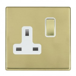 Hamilton Hartland CFX Polished Brass 1 Gang 13A Switched Socket - Double Pole with White Insert