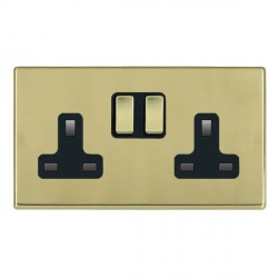 Hamilton Hartland CFX Polished Brass 2 Gang 13A Switched Socket - Double Pole with Black Insert