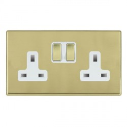Hamilton Hartland CFX Polished Brass 2 Gang 13A Switched Socket - Double Pole with White Insert