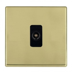 Hamilton Hartland CFX Polished Brass 1 Gang Non Isolated Television 1in/1out with Black Insert