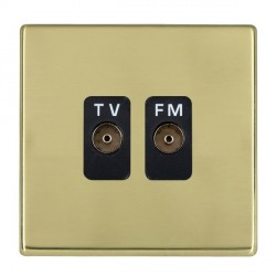 Hamilton Hartland CFX Polished Brass 2 Gang Isolated Television/FM 1in/2out with Black Insert