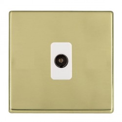Hamilton Hartland CFX Polished Brass 1 Gang Non Isolated Television 1in/1out with White Insert