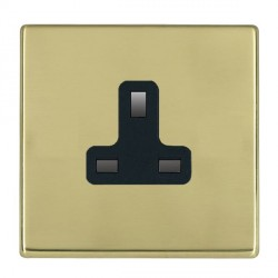 Hamilton Hartland CFX Polished Brass 1 Gang 13A Unswitched Socket with Black Insert
