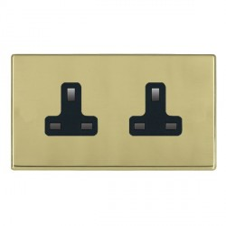 Hamilton Hartland CFX Polished Brass 2 Gang 13A Unswitched Socket with Black Insert
