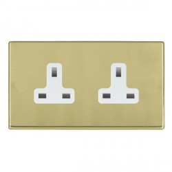 Hamilton Hartland CFX Polished Brass 2 Gang 13A Unswitched Socket with White Insert