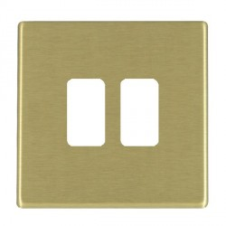 Hamilton Hartland CFX Grid Satin Brass 2 Gang Concealed Fix Grid Fix Aperture Plate with Grid