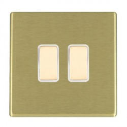 Hamilton Hartland CFX Satin Brass 2 Gang Multi way Touch Master Trailing Edge with White Insert