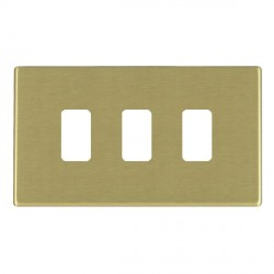 Hamilton Hartland CFX Grid Satin Brass 3 Gang Concealed Fix Grid Fix Aperture Plate with Grid