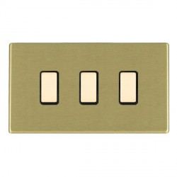 Hamilton Hartland CFX Satin Brass 3 Gang Multi way Touch Slave Trailing Edge with Black Insert