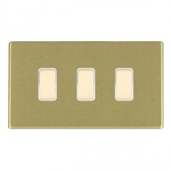 Hamilton Hartland CFX Satin Brass 3 Gang Multi way Touch Slave Trailing Edge with White Insert