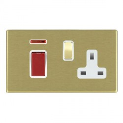 Hamilton Hartland CFX Satin Brass 1 Gang Double Pole 45A Red Rocker + 13A Switched Socket with White Insert