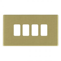 Hamilton Hartland CFX Grid Satin Brass 4 Gang Concealed Fix Grid Fix Aperture Plate with Grid