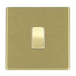 Hamilton Hartland CFX Satin Brass 1 Gang Push To Make Retractive Rocker with White Insert