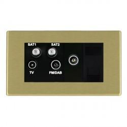 Hamilton Hartland Satin Brass TV+FM+SAT+SAT (DAB Compatible)+TV+TCS (DAB Compatible) with Black Insert