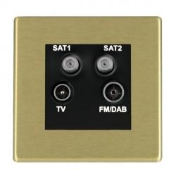 Hamilton Hartland Satin Brass TV+FM+SAT+SAT (DAB Compatible) with Black Insert