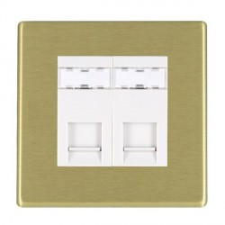 Hamilton Hartland CFX Satin Brass 2 Gang RJ45 Outlet Cat 5e Unshielded with White Insert