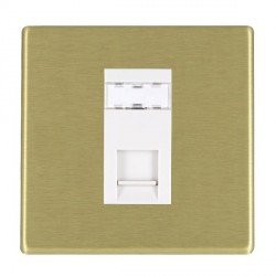 Hamilton Hartland CFX Satin Brass 1 Gang RJ45 Outlet Cat 5e Unshielded with White Insert