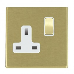 Hamilton Hartland CFX Satin Brass 1 Gang 13A Switched Socket - Double Pole with White Insert