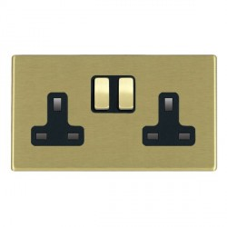 Hamilton Hartland CFX Satin Brass 2 Gang 13A Switched Socket - Double Pole with Black Insert