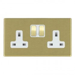 Hamilton Hartland CFX Satin Brass 2 Gang 13A Switched Socket - Double Pole with White Insert