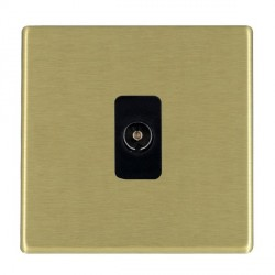 Hamilton Hartland CFX Satin Brass 1 Gang Non Isolated Television 1in/1out with Black Insert