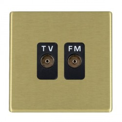 Hamilton Hartland CFX Satin Brass 2 Gang Isolated Television/FM 1in/2out with Black Insert