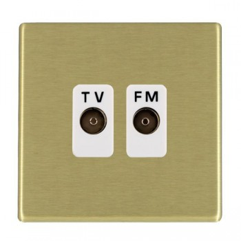 Hamilton Hartland CFX Satin Brass 2 Gang Isolated Television/FM 1in/2out with White Insert