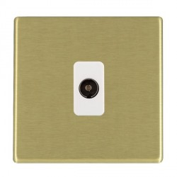 Hamilton Hartland CFX Satin Brass 1 Gang Non Isolated Television 1in/1out with White Insert