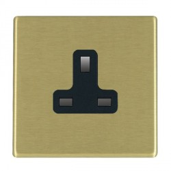 Hamilton Hartland CFX Satin Brass 1 Gang 13A Unswitched Socket with Black Insert