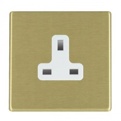 Hamilton Hartland CFX Satin Brass 1 Gang 13A Unswitched Socket with White Insert