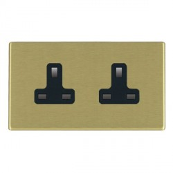 Hamilton Hartland CFX Satin Brass 2 Gang 13A Unswitched Socket with Black Insert