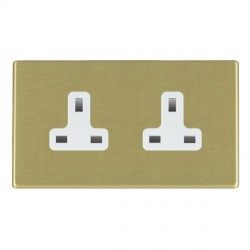 Hamilton Hartland CFX Satin Brass 2 Gang 13A Unswitched Socket with White Insert