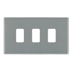 Hamilton Hartland CFX Grid Satin Steel 3 Gang Concealed Fix Grid Fix Aperture Plate with Grid