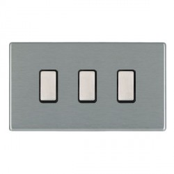 Hamilton Hartland CFX Satin Steel 3 Gang Multi way Touch Master Trailing Edge with Black Insert