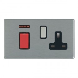 Hamilton Hartland CFX Satin Steel 1 Gang Double Pole 45A Red Rocker + 13A Switched Socket with Black Inse...
