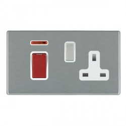 Hamilton Hartland CFX Satin Steel 1 Gang Double Pole 45A Red Rocker + 13A Switched Socket with White Insert