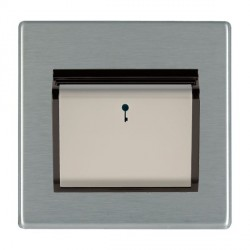Hamilton Hartland CFX Satin Steel 1 Gang On/Off 10A Card Switch with Blue LED Locator with Black Insert