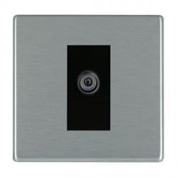 Hamilton Hartland CFX Satin Steel 1 Gang Digital Satellite with Black Insert