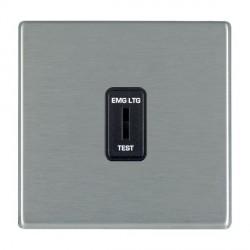 Hamilton Hartland CFX Satin Steel 1 Gang 2 Way Key Switch 'EMG LTG TEST' with Black Insert