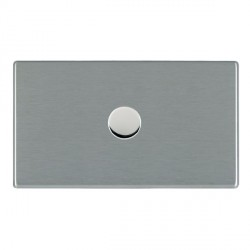 Hamilton Hartland CFX Satin Steel Push On/Off Dimmer 1 Gang 2 way 1000W with Satin Steel Insert