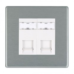 Hamilton Hartland CFX Satin Steel 2 Gang RJ12 Outlet Unshielded with White Insert