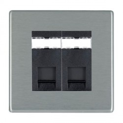 Hamilton Hartland CFX Satin Steel 2 Gang RJ45 Outlet Cat 5e Unshielded with Black Insert