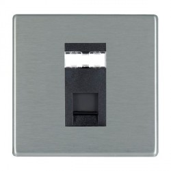 Hamilton Hartland CFX Satin Steel 1 Gang RJ45 Outlet Cat 5e Unshielded with Black Insert