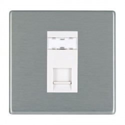 Hamilton Hartland CFX Satin Steel 1 Gang RJ45 Outlet Cat 5e Unshielded with White Insert
