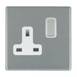 Hamilton Hartland CFX Satin Steel 1 Gang 13A Switched Socket - Double Pole with White Insert