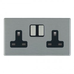 Hamilton Hartland CFX Satin Steel 2 Gang 13A Switched Socket - Double Pole with Black Insert